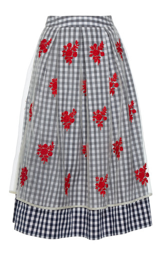 Medium rahul mishra blue pleated gingham skirt