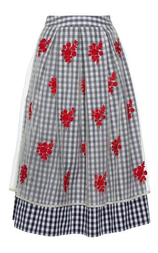 Medium rahul mishra blue pleated gingham skirt