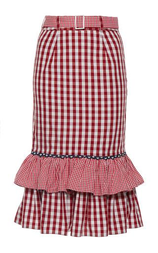 Medium rahul mishra red ruffled pencil skirt