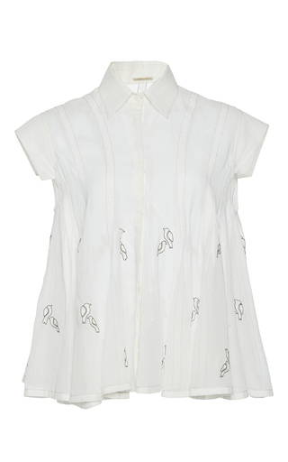 Medium rahul mishra white hand embroidered bird shirt