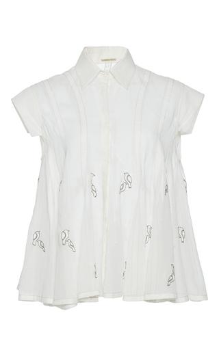 Medium rahul mishra white hand embroidered bird shirt