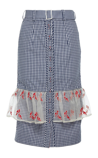 Medium rahul mishra blue gingham pencil skirt