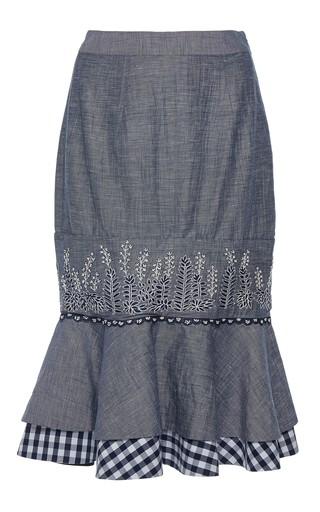 Medium rahul mishra blue barley ruffled pencil skirt