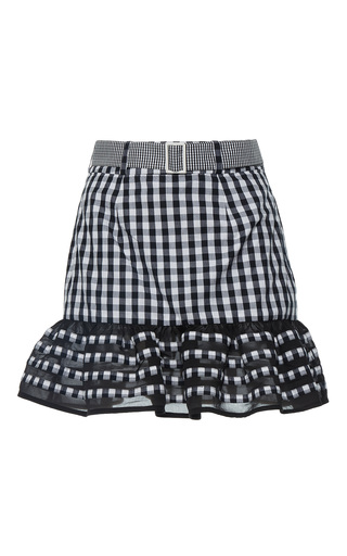 Medium rahul mishra black ruffled gingham mini skirt 2