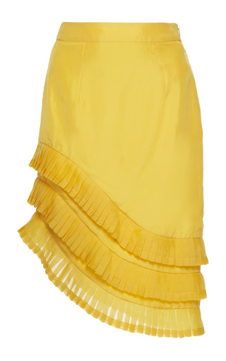 Medium rahul mishra yellow asymmetric pleated skirt