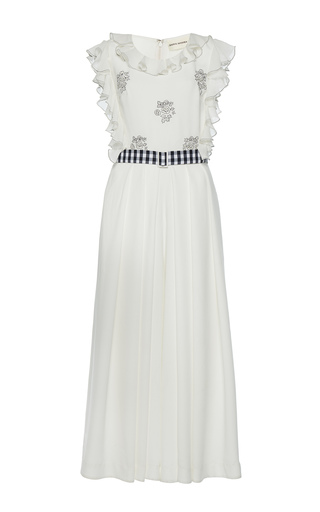 Medium rahul mishra white hand embroidered roses jumpsuit