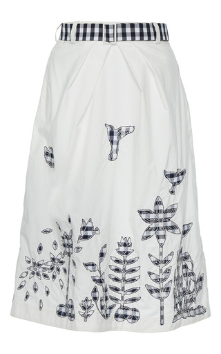 Medium rahul mishra white applique cotton skirt