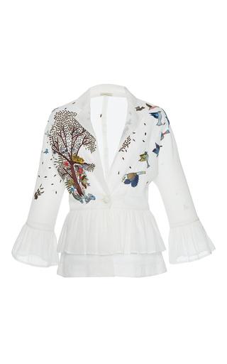 Medium rahul mishra white hand embroidered peplum jacket