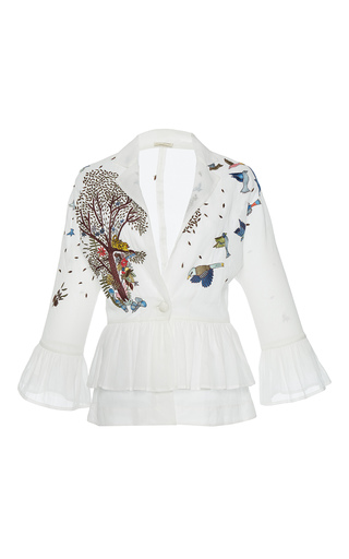 Medium rahul mishra white hand embroidered peplum jacket