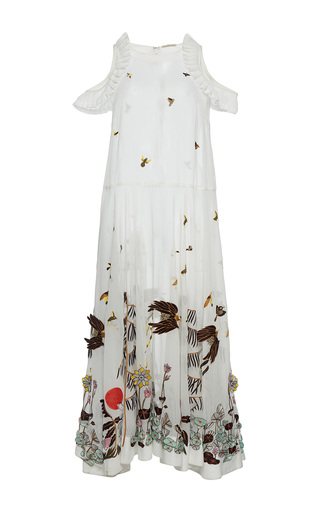 Medium rahul mishra white hand embroidered mid length dress