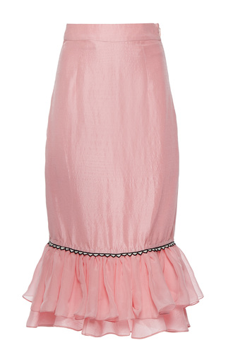 Medium rahul mishra pink silk habotai ruffled skirt