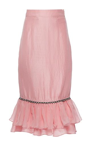 Medium rahul mishra pink silk habotai ruffled skirt