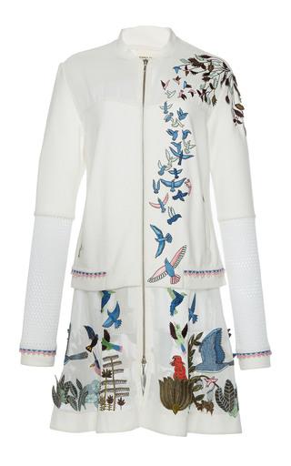 Medium rahul mishra white hand embroidered long flared jacket