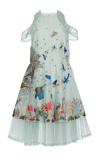 Medium rahul mishra blue tropical forest pleated dress