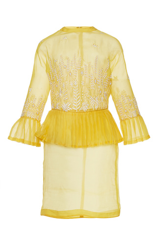 Medium rahul mishra yellow barley peplum dress