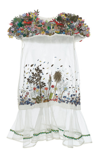 Medium rahul mishra white 3d tropical forest cluster dress