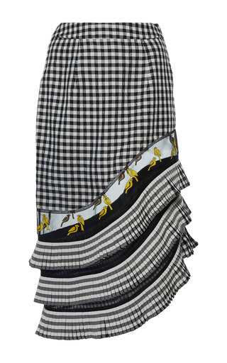 Medium rahul mishra black gingham asymmetric pleated skirt