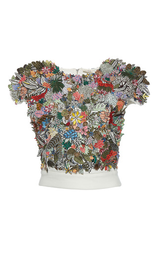 Medium rahul mishra white 3d tropical forest cluster crop top