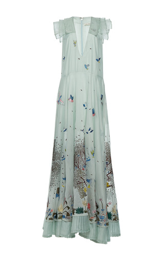 Medium rahul mishra blue hand embroidered tropical forest long dress