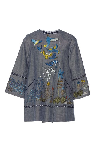 Medium rahul mishra blue tropical forest double breasted blazer