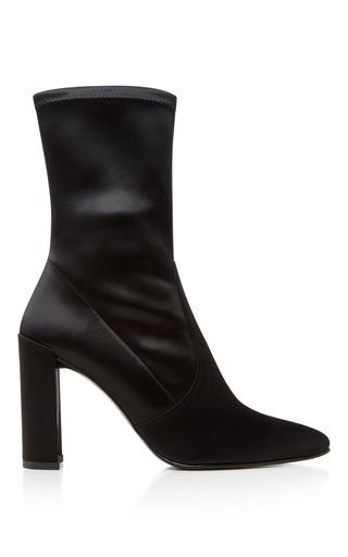 Medium stuart weitzman  2 black clinger stretch satin ankle boots