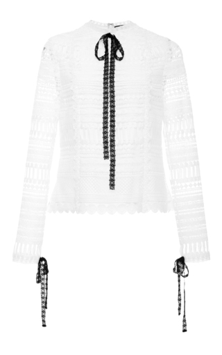 Medium alexis white orson neck tie top