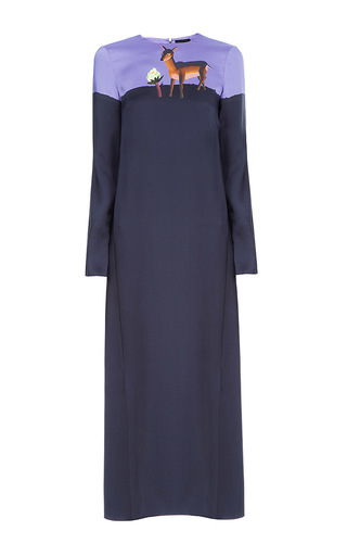 Medium lake studio navy colorblock fawn midi dress