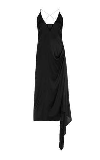 Medium lake studio black plunging v midi slip dress