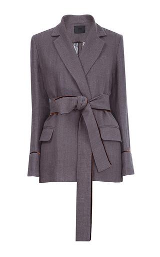 Medium lake studio grey belted blazer