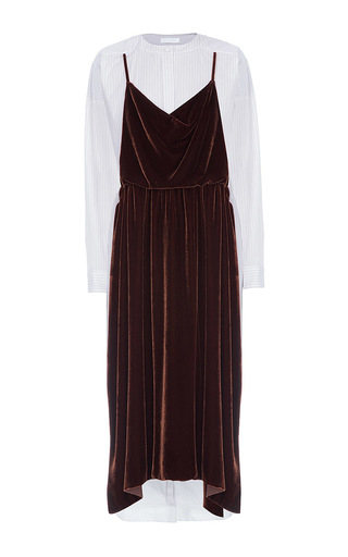 Medium lake studio brown long sleeve velvet midi dress