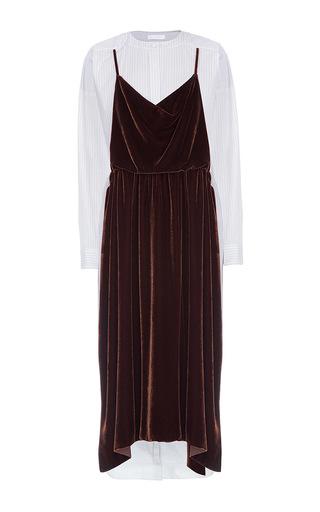Medium lake studio brown long sleeve velvet midi dress