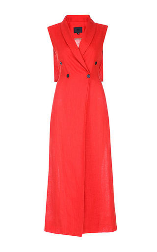 Medium lake studio orange sleeveless jacket maxi dress