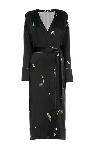 Medium lake studio black printed wrap midi dress