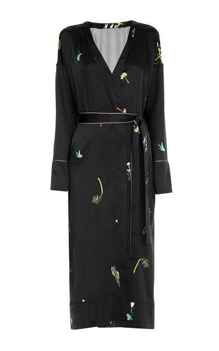 Medium lake studio black printed wrap midi dress