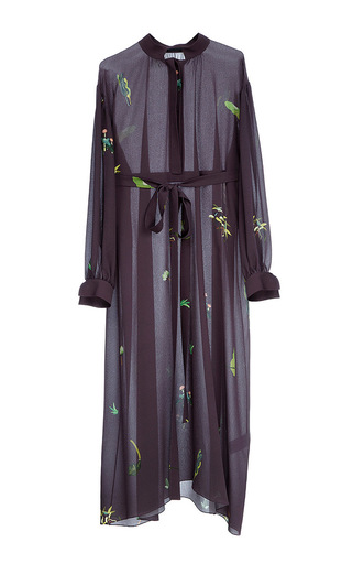 Medium lake studio purple nature print sheer shirt dress