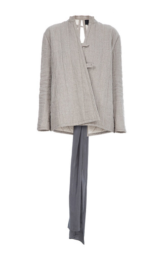 Medium lake studio neutral tie back wrap jacket