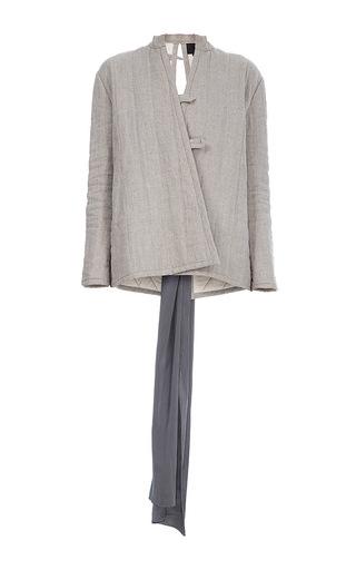 Medium lake studio neutral tie back wrap jacket