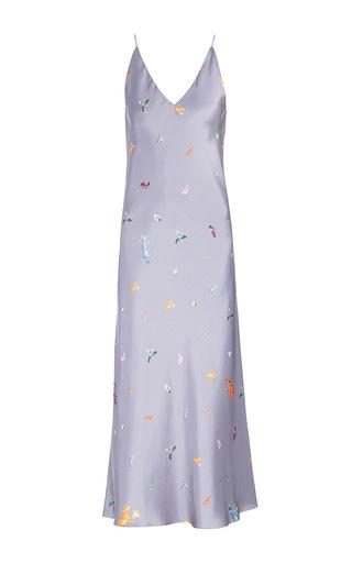 Medium lake studio grey printed v neck midi slip dress