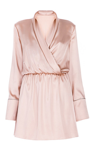 Medium lake studio pink long sleeve wrap mini dress