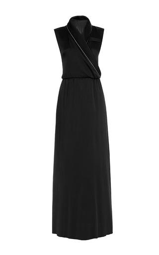 Medium lake studio black sleeveless wrap silk maxi dress