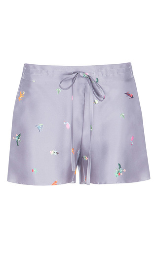 Medium lake studio grey printed silk drawstring shorts