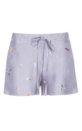 Medium lake studio grey printed silk drawstring shorts