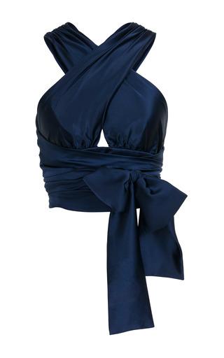 Medium jessica choay navy strap wrap crop top