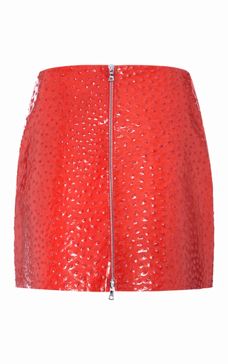 Medium lrs red patent leather mini skirt