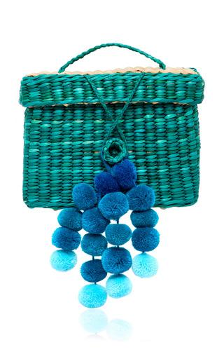 Medium nannacay blue m o exlcusive baby roge pom pom embellished woen raffia tote