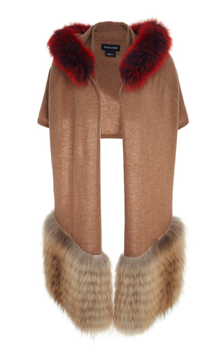 Medium izaak azanei brown hooded fur trim scarf