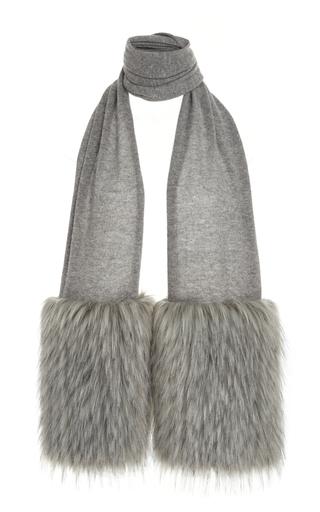 Medium izaak azanei grey grey faux fur trim scarf