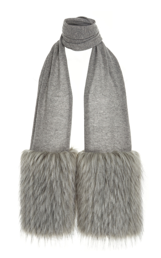 Medium izaak azanei grey grey faux fur trim scarf