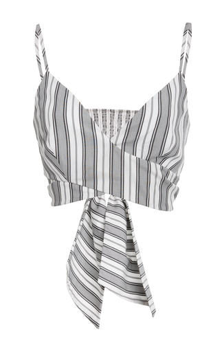 Medium christian siriano stripe stripe cropped wrap top