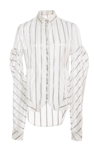 Medium christian siriano stripe puff sleeve stripe shirt